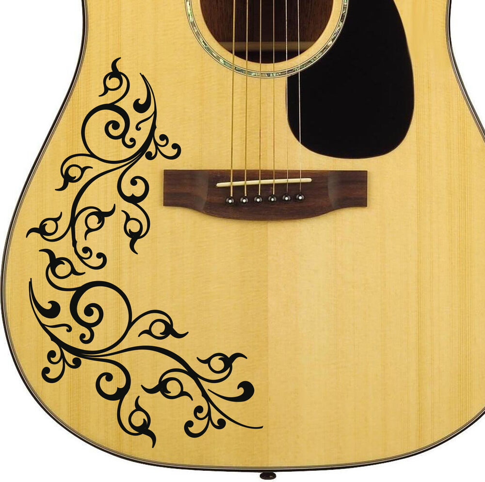 pro acoustic floral swirl decal sticker for guitar bodies 10 colour options diy ebay. Black Bedroom Furniture Sets. Home Design Ideas