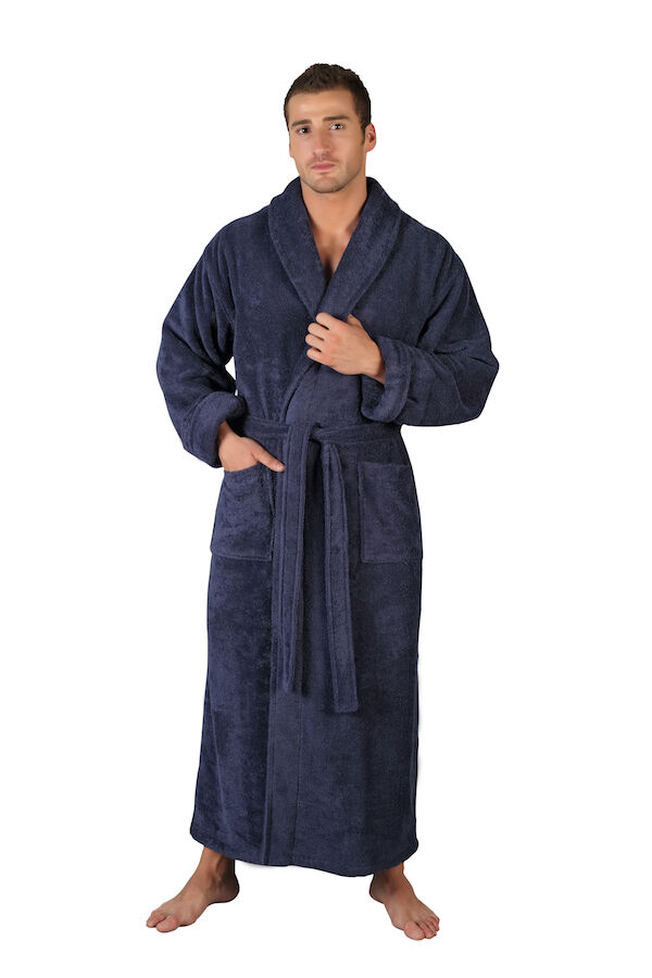men 39 s 100 premium pima cotton bathrobe made in turkey full length long robe ebay. Black Bedroom Furniture Sets. Home Design Ideas