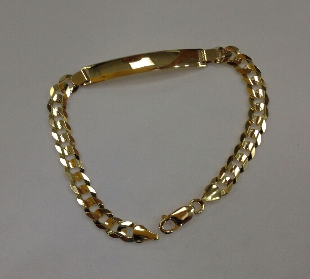 Gold Jewelry Bracelets: 7MM14K SOLID YELLOW GOLD CUBAN LINK WOMEN/MEN'S ID