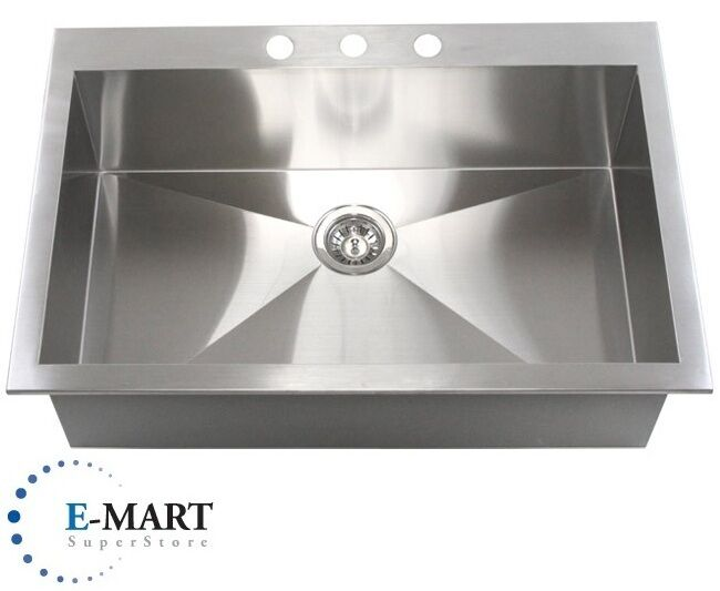 30 inch drop in kitchen sink 36 inch top mount drop in stainless steel single bowl 8983