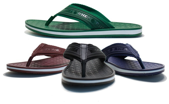 b4a3b25a1aacb3 NEW Rhea Mens Sandals Slip Resistant Premium Green Blue Brown Black Flip  Flops
