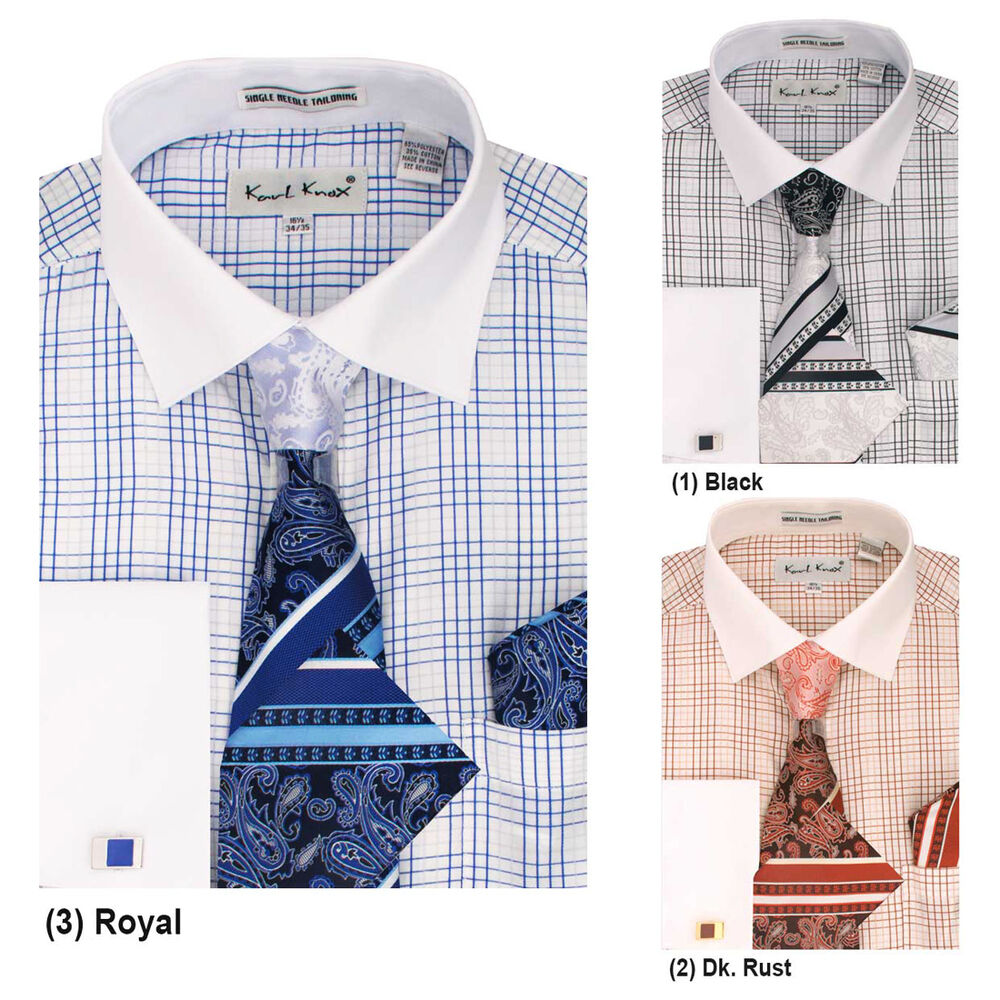 Mens karl knox formal casual dress shirt tie hanky cuff for Casual shirt and tie