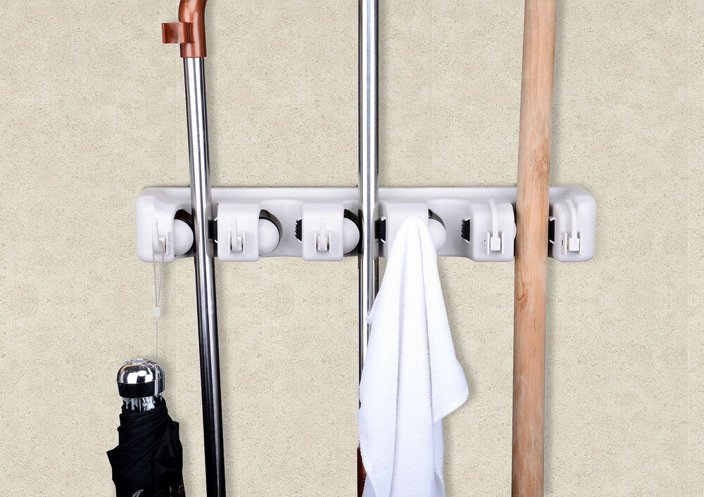 Space Saving Mop And Broom Hanging Organizer With Six