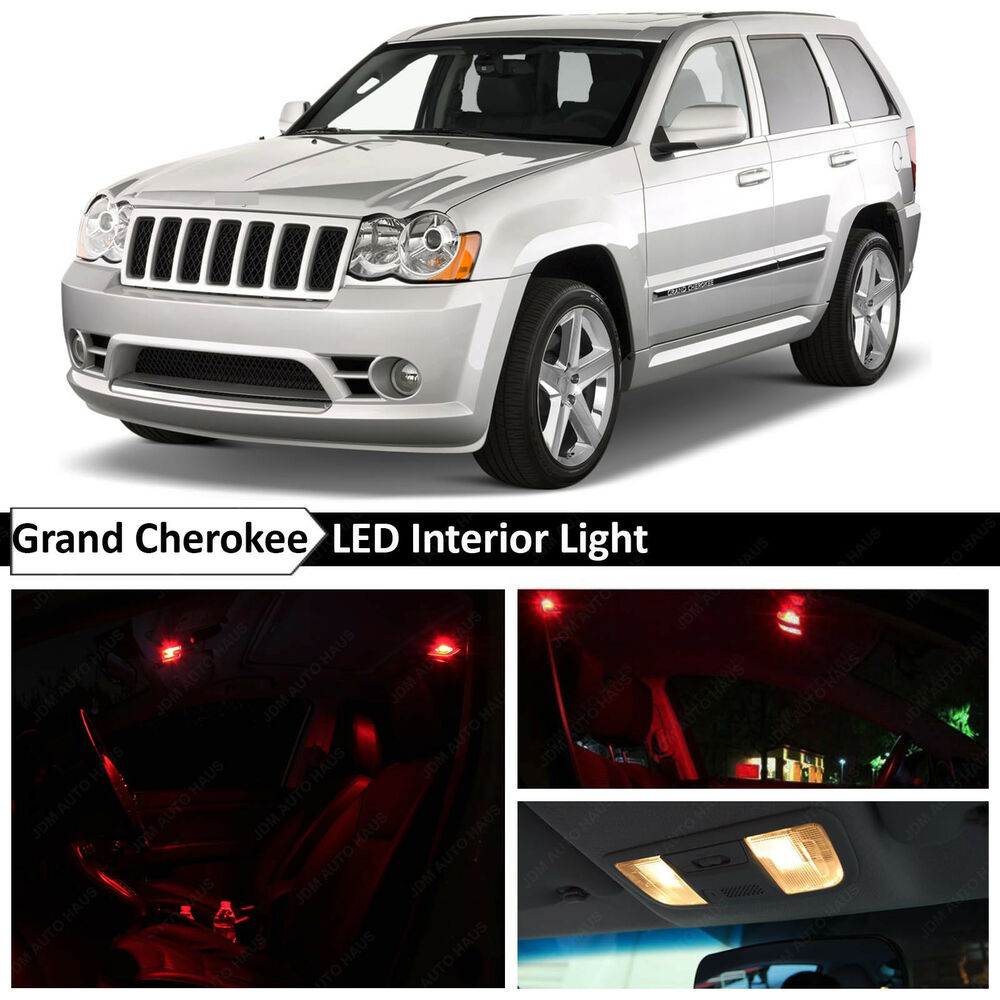 12x red interior map dome led lights package for 2005 2010 - 2015 jeep grand cherokee led interior lights ...