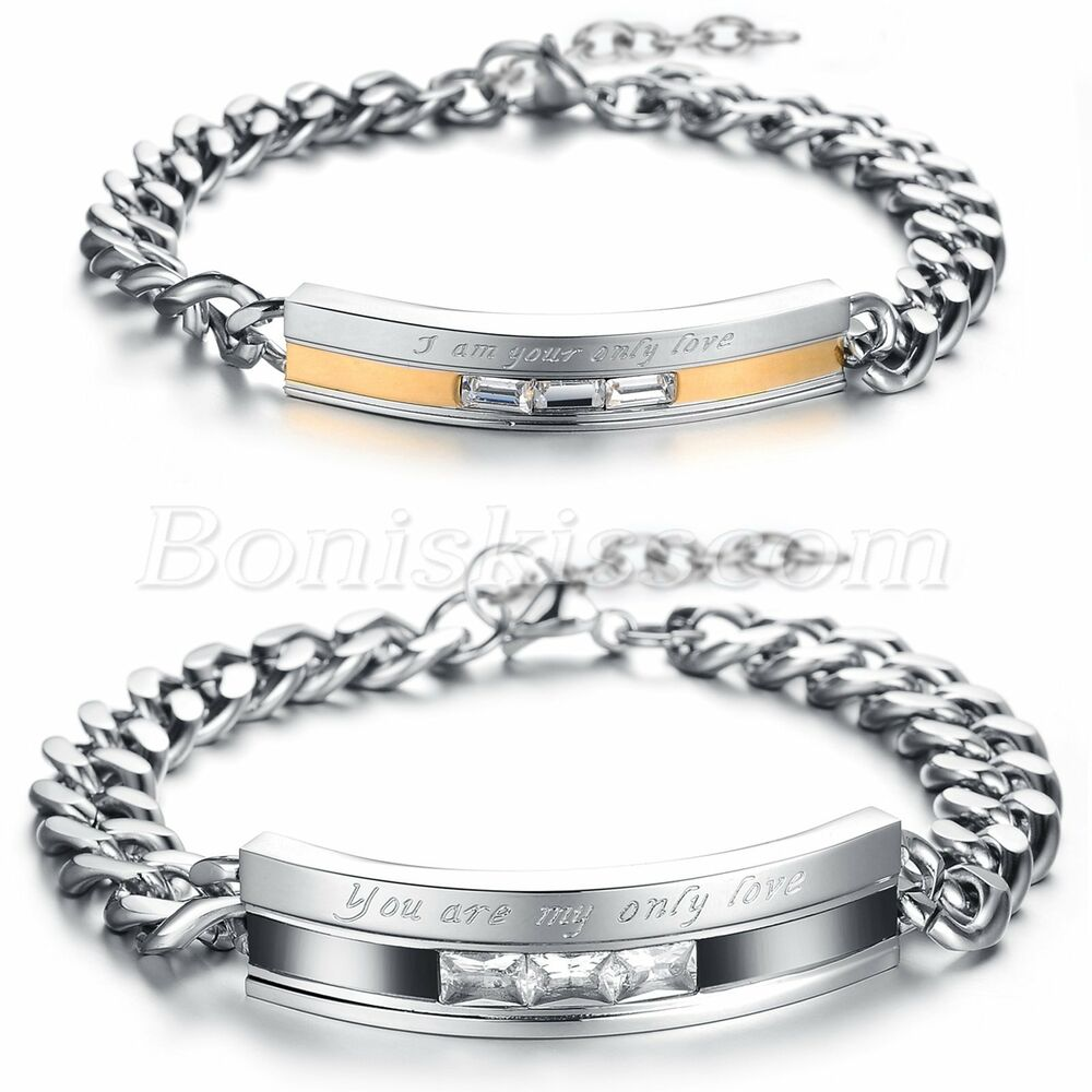 promise bracelet for stainless steel cz promise quot you are my only quot couples 2256