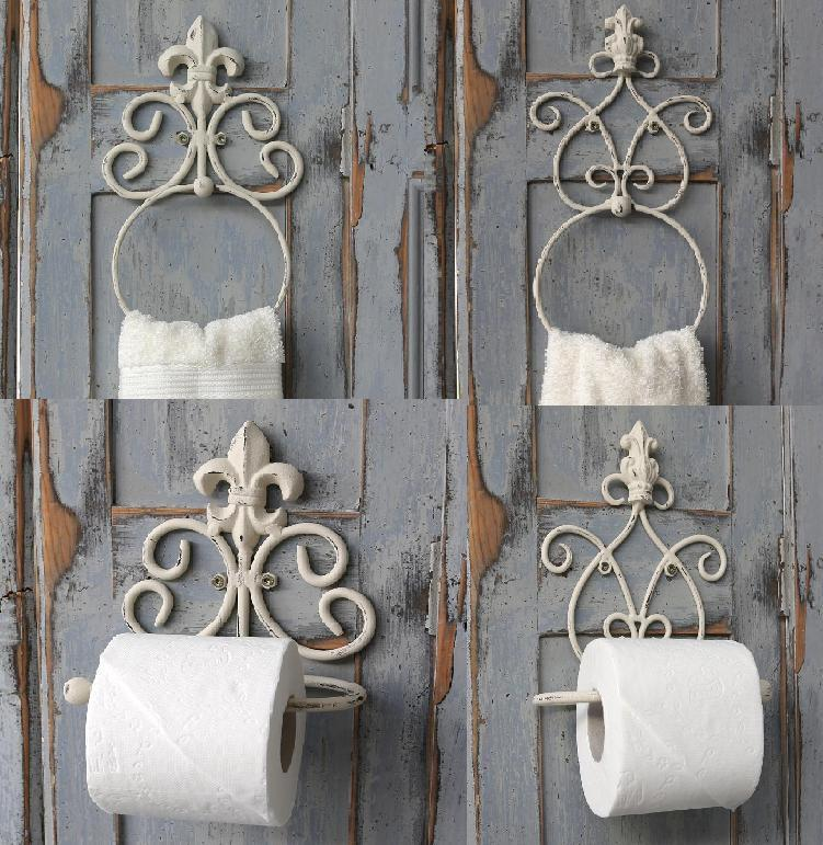 Antique Stlye White Toilet Roll Holder Towel Ring Vintage