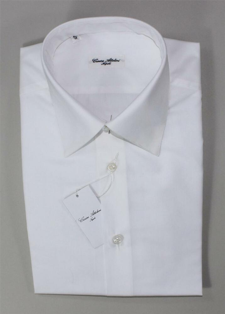 Nwt cesare attolini spread collar solid white hand made for 100 cotton dress shirt