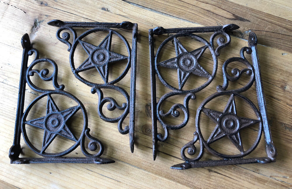 4 Cast Iron Antique Star Brackets Garden Braces Shelf