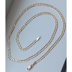 Kyпить 14K Solid Yellow Gold 3mm Cuban Link Chain Necklace Men Women Size 16