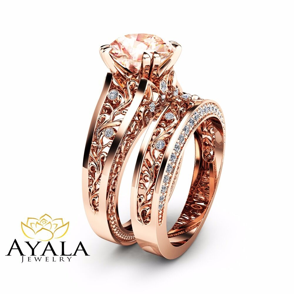 wedding ring rose gold 14k gold morganite engagement ring set unique 2 carat 9982