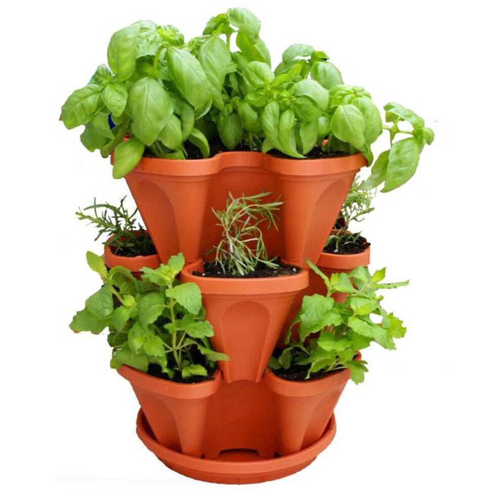 Tier indoor vertical stackable vegetable flower herb garden planter