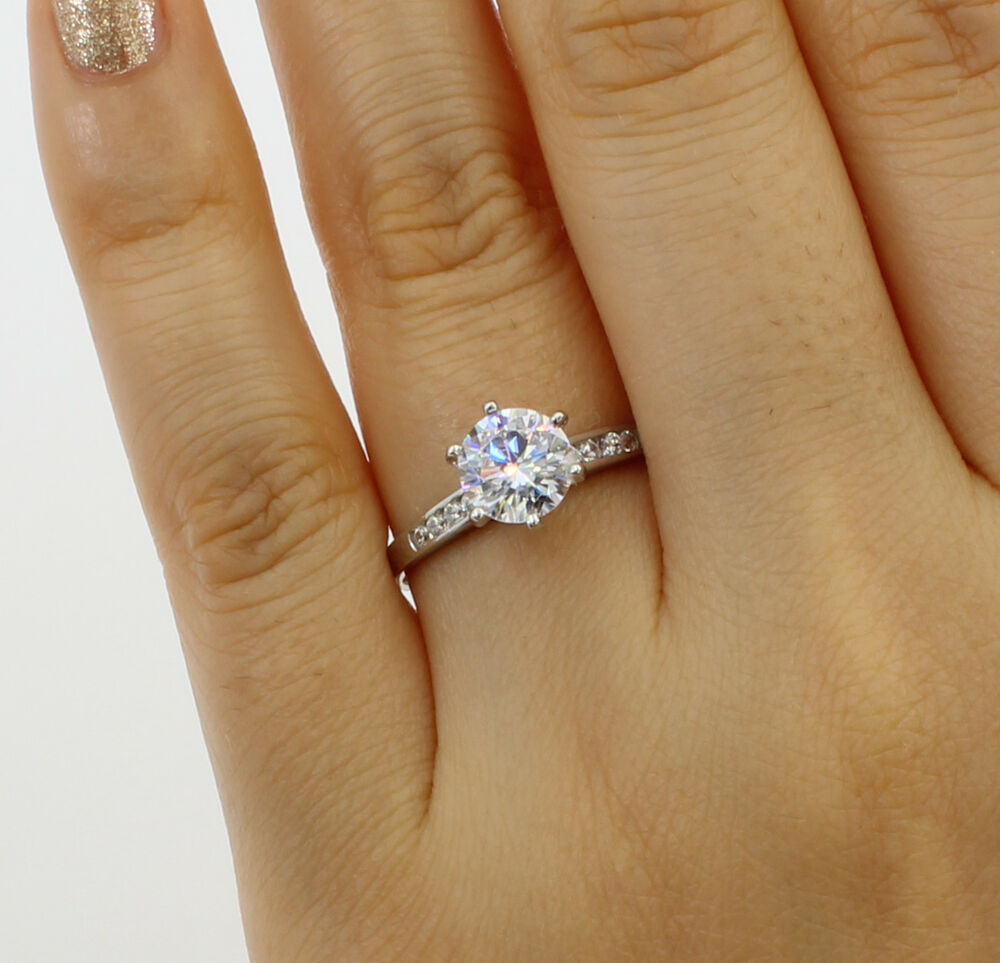 1.25 Ct 14K White Gold Cathedral Round Engagement Wedding