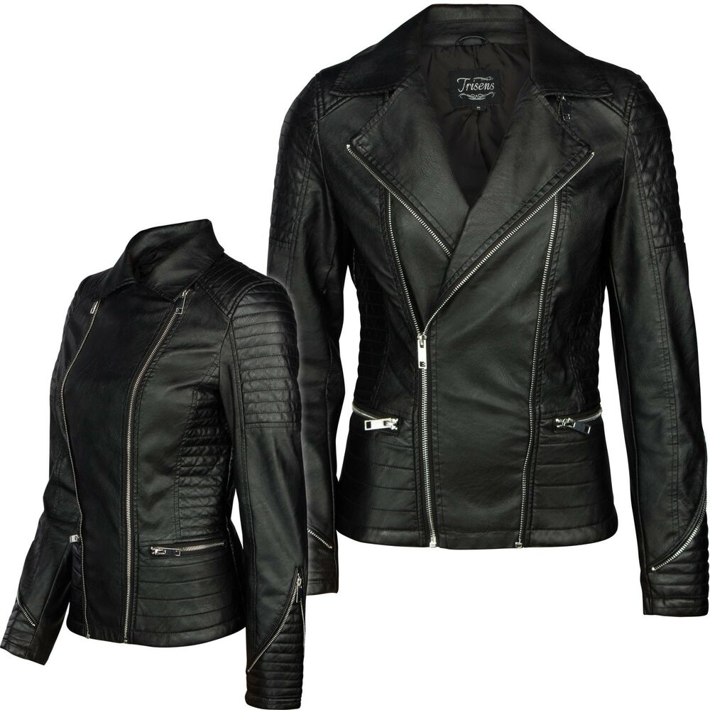 damen lederjacke von trisens biker kurz motorrad jacke. Black Bedroom Furniture Sets. Home Design Ideas