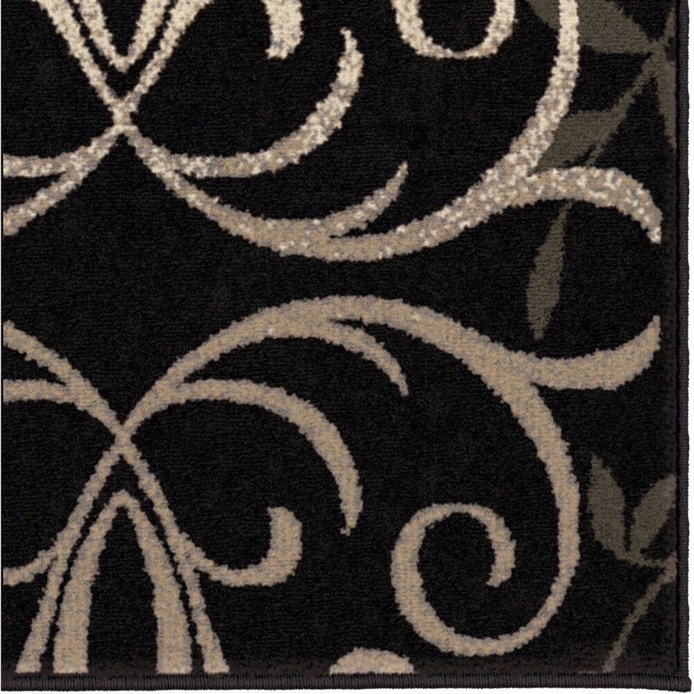 Area Rug Black White Grey Pattern Rugs Floral Decor Floor