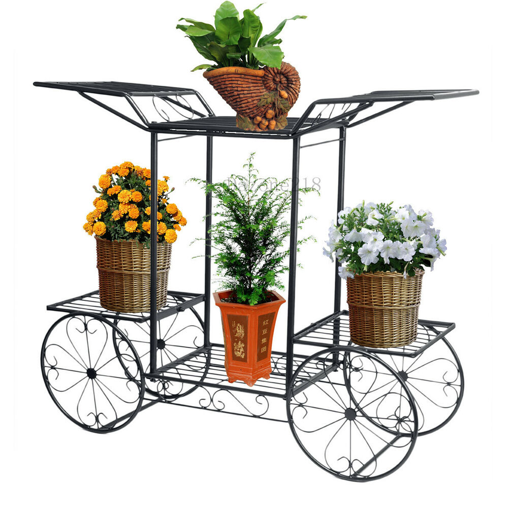 6 tier black 4 wheeler metal flower pot plant stand garden indoor decor beauty ebay. Black Bedroom Furniture Sets. Home Design Ideas