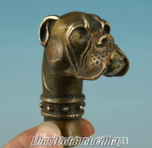 Old Chinese Bronze Hand Carved Dog Cane Walking Stick Head