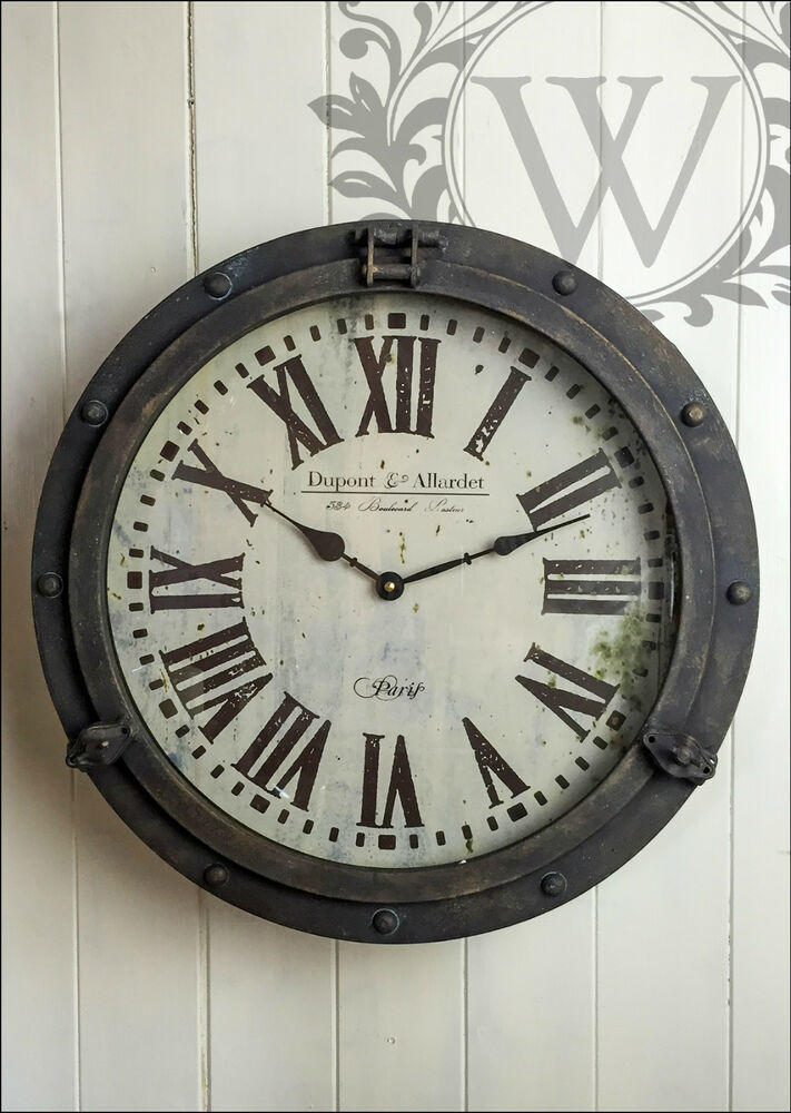Round Iron Wall Clock French Vintage Industrial Rustic