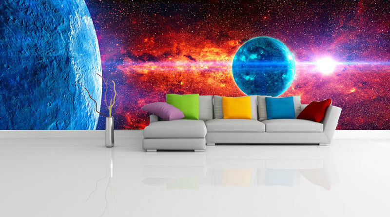 Diy Galaxy Wall Decor : Blue planet space galaxy universe d full wall mural photo