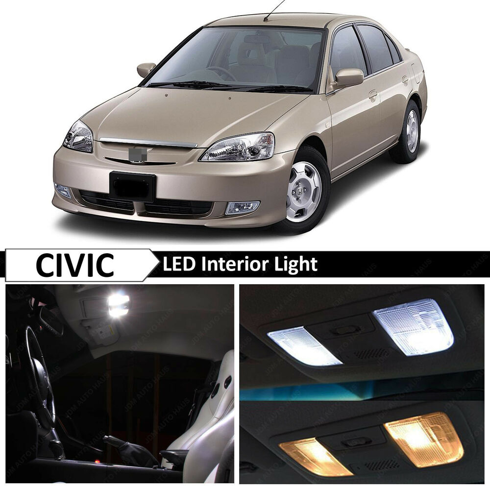 Details About White Interior Led Light Package Kit Fit 2001 2005 Honda Civic Sedan Coupe