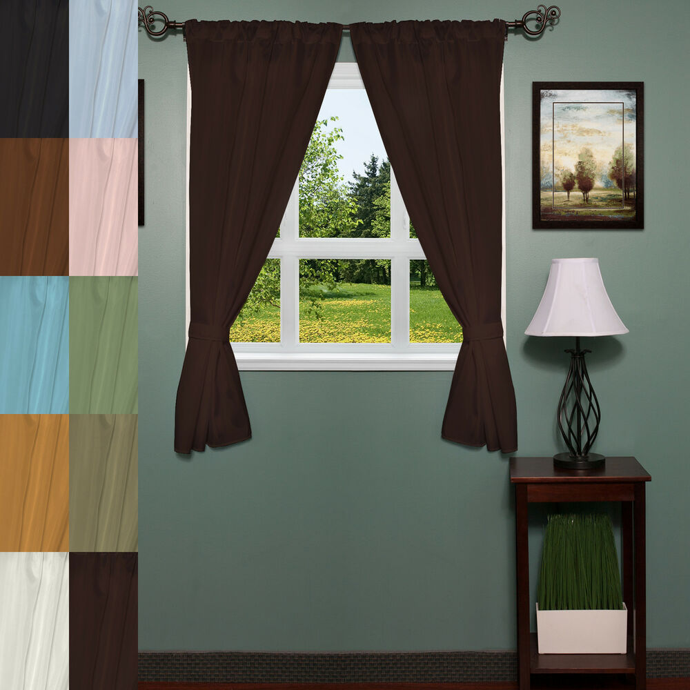 Classic hotel quality 36 w x 54 l fabric bathroom window curtain set w tiebacks ebay Bathroom valances for windows