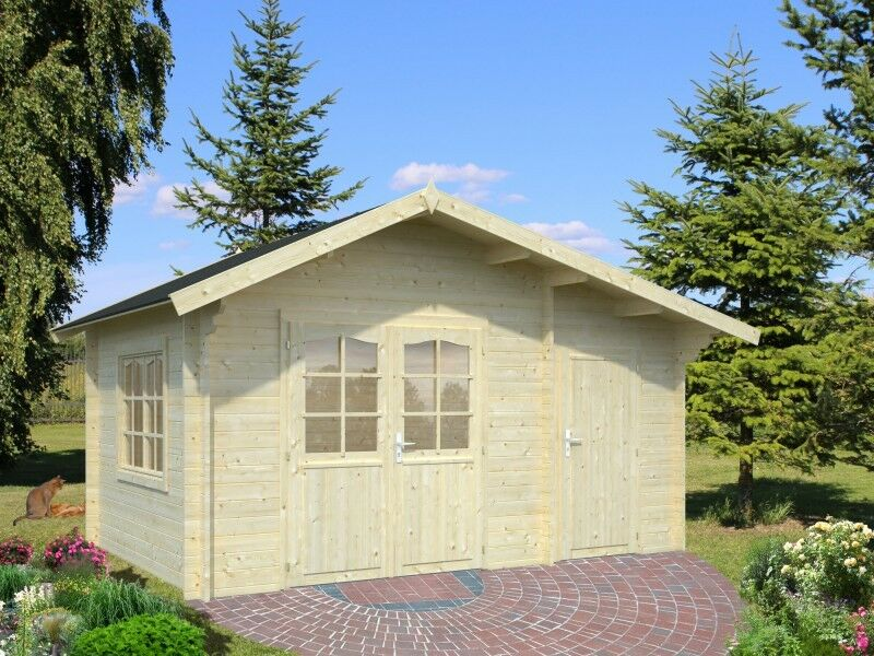 gartenhaus 34mm hunsr ck 4 4x3m ger teh user gartenh tte holz blockhaus holzhaus ebay. Black Bedroom Furniture Sets. Home Design Ideas