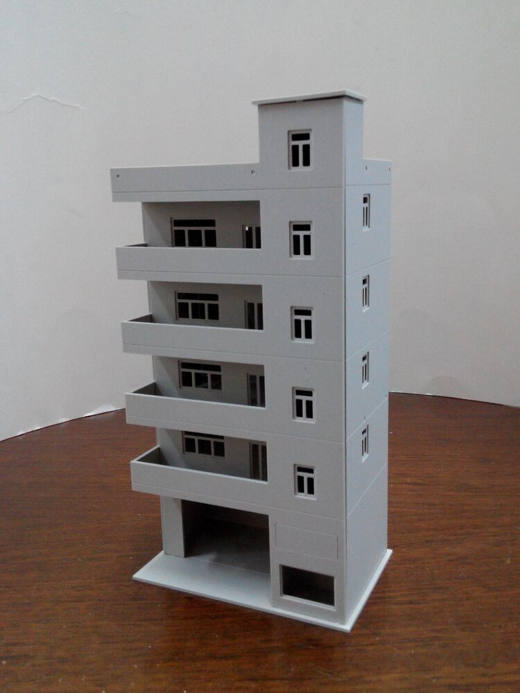Ho scale building apartment building 1 87 for ho gauge for Model apartments