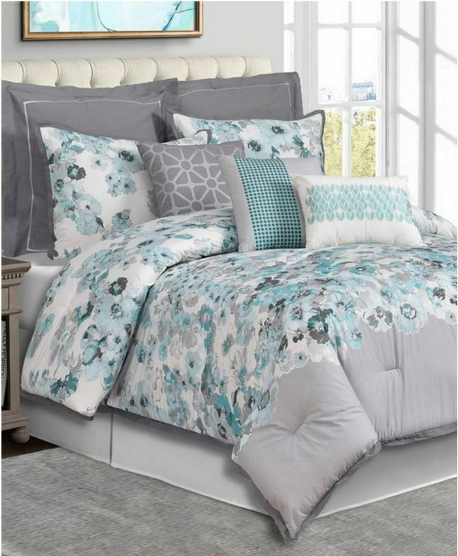 Cascavel 7 Piece Queen Comforter Set Aqua Grey Msrp 300