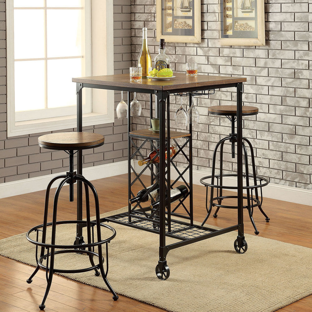 medium oak glassware wine storage mobile bar table height adjustable bar chair ebay. Black Bedroom Furniture Sets. Home Design Ideas