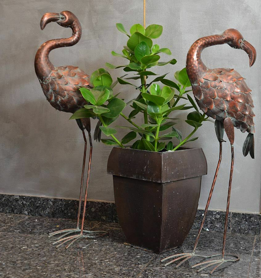 figur deko tierfigur flamingo metall vogel 80cm landha bronze messing ebay. Black Bedroom Furniture Sets. Home Design Ideas
