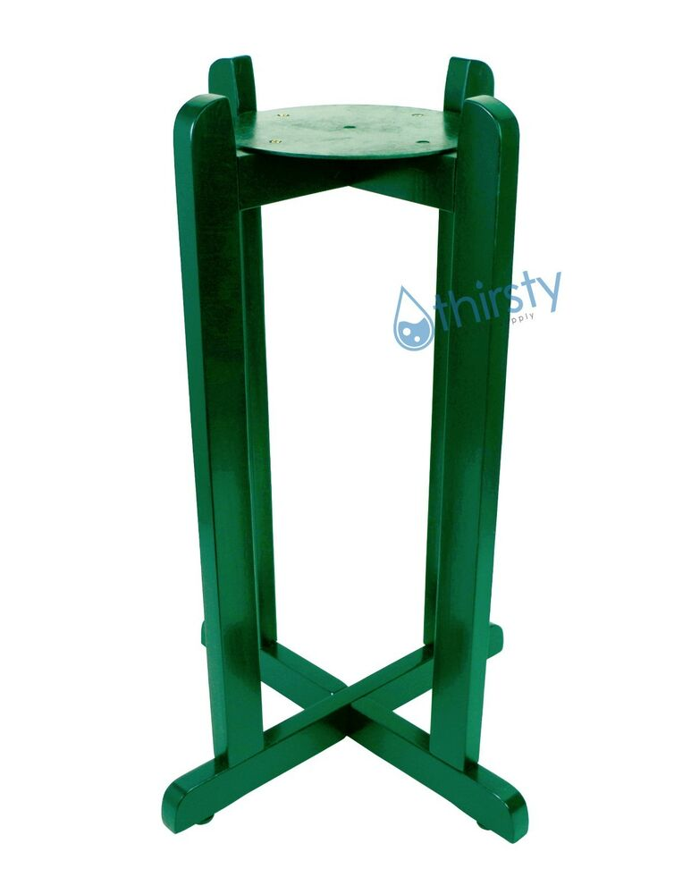 Green Floor Stand For Water Crocks Vase Wood Base Faucet