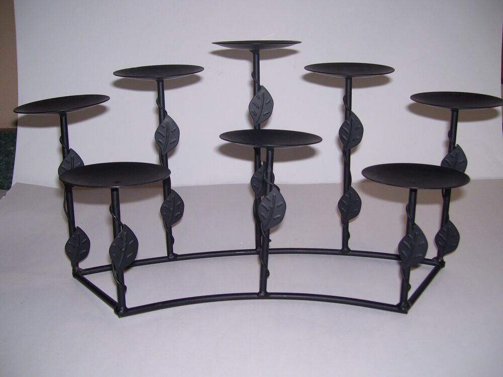 BLACK Metal Wrought Iron Style Candle Holder 8 TIER Tuscan