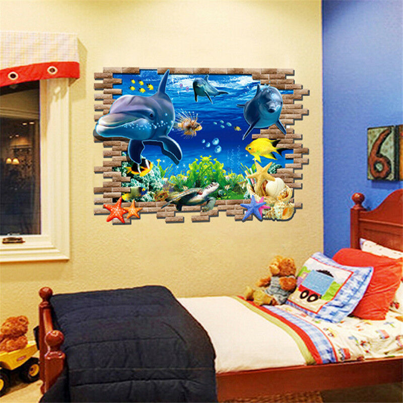 Diy Dolphin 3d Sea Ocean Vinyl Decal Kid Room Home Decor