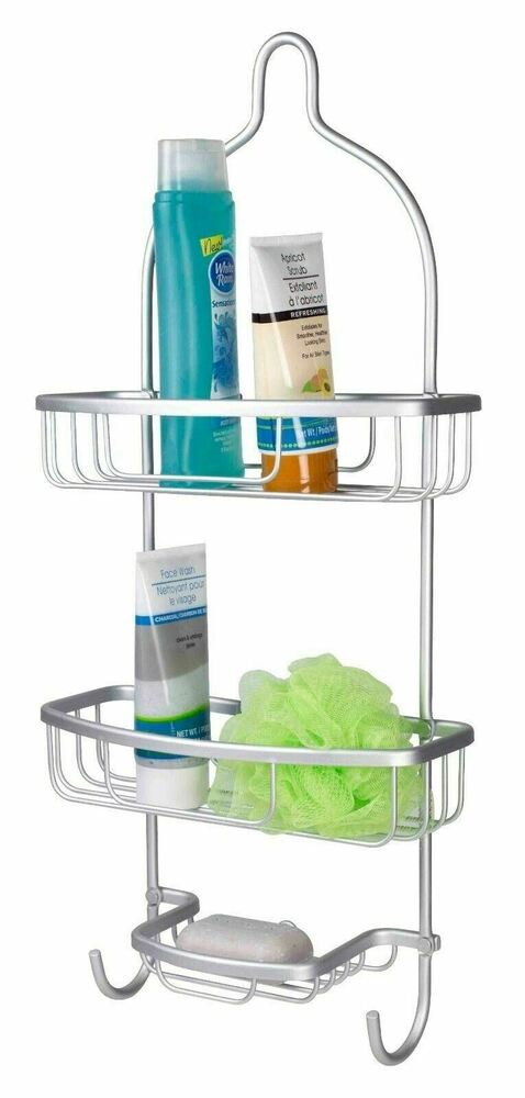 Home basics new 2 tier durable aluminum flat wire shower caddy sc41136 ebay - The basics about shower caddies ...
