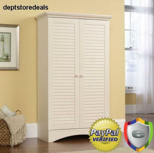 Storage Cabinet Kitchen Pantry Tall Wood Utility Cupboard Cottage Style White Ebay