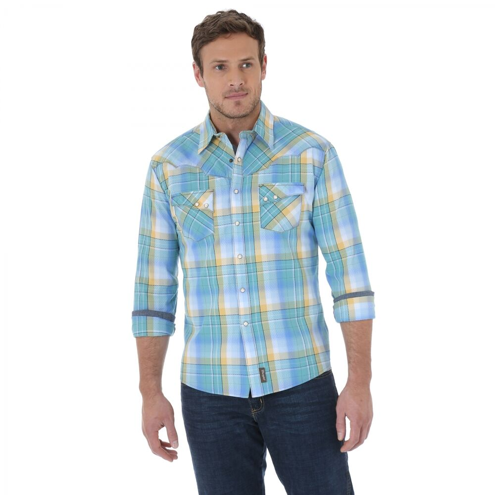 Wrangler retro mens pearl snap green long sleeve western for Mens 2xlt short sleeve shirts