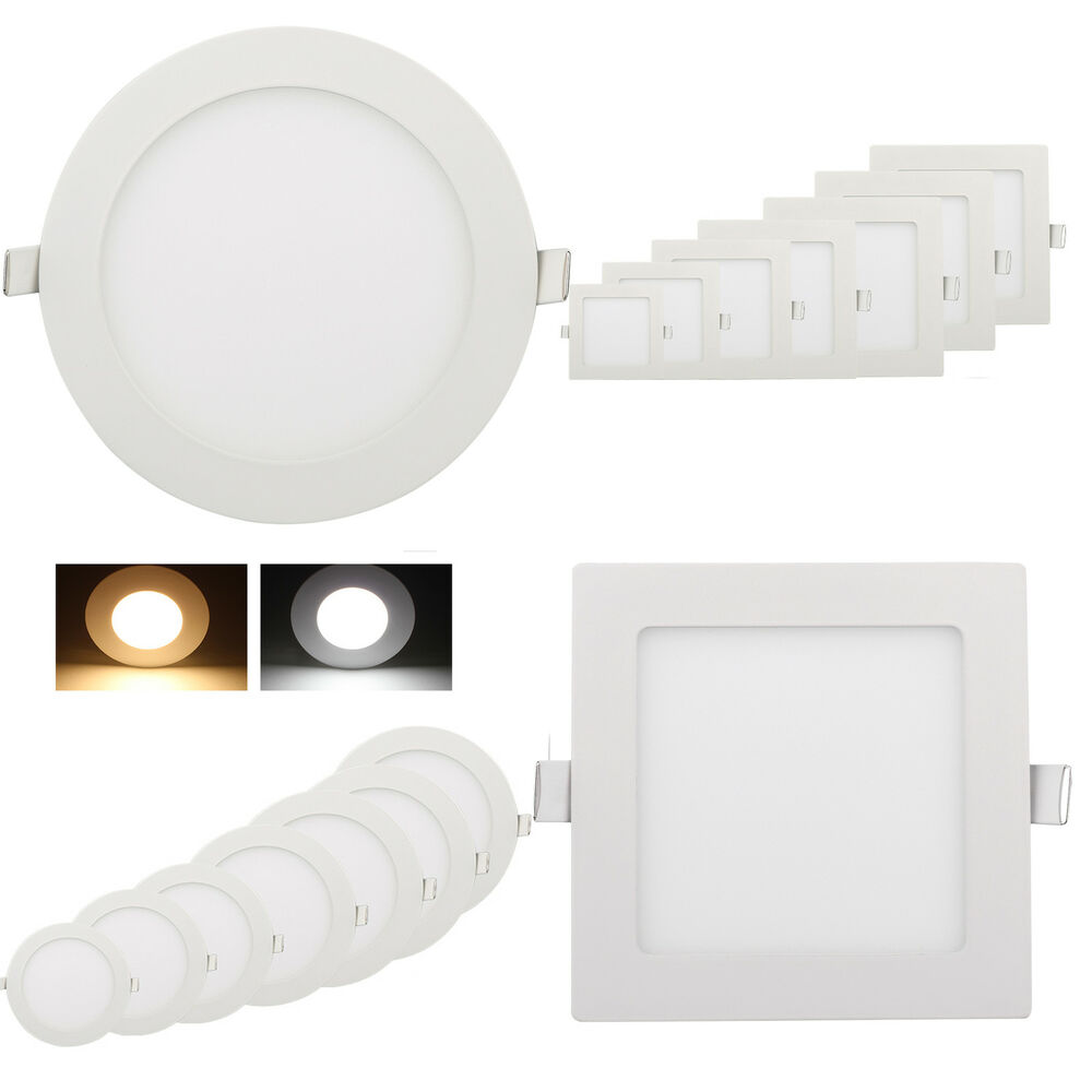 ultraslim panneau panel led encastr plafond lampe lumineux ronde carr 3w 18w ebay. Black Bedroom Furniture Sets. Home Design Ideas