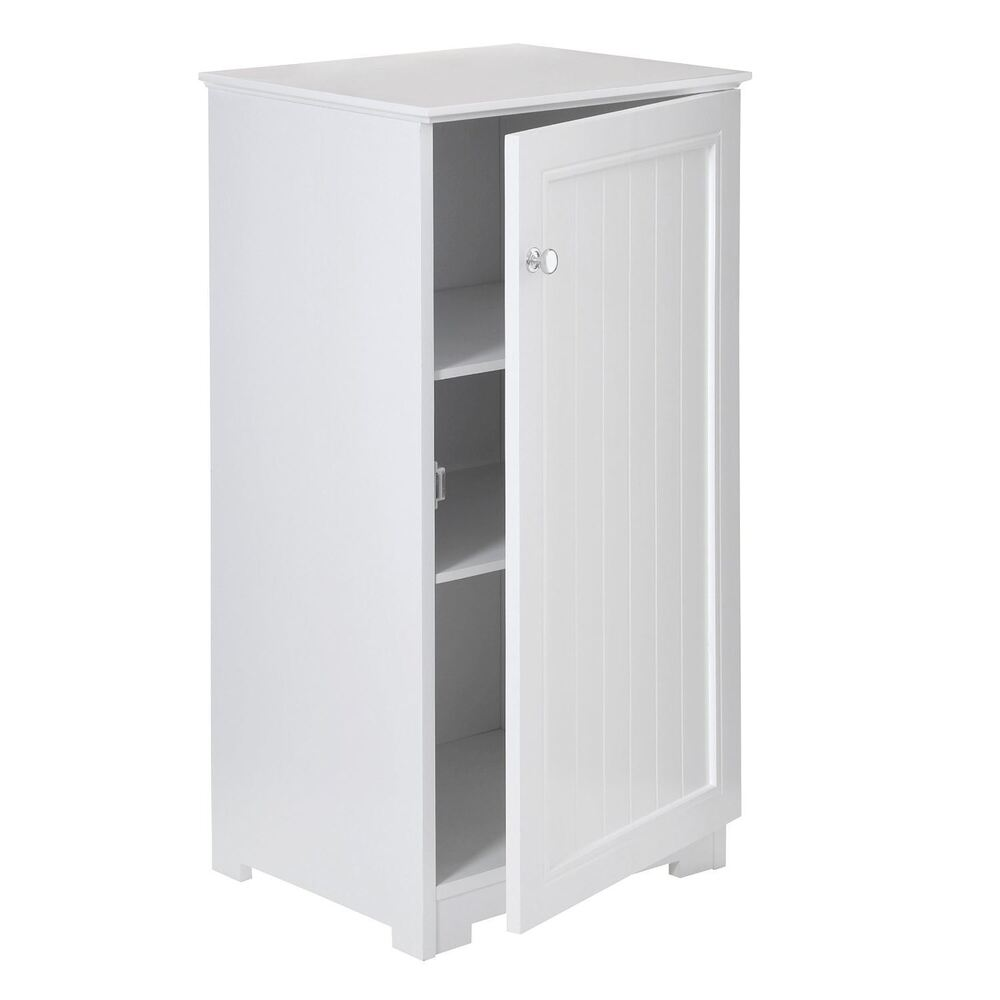 white wood floorstanding cabinet 2 inner shelves bathroom storage ebay