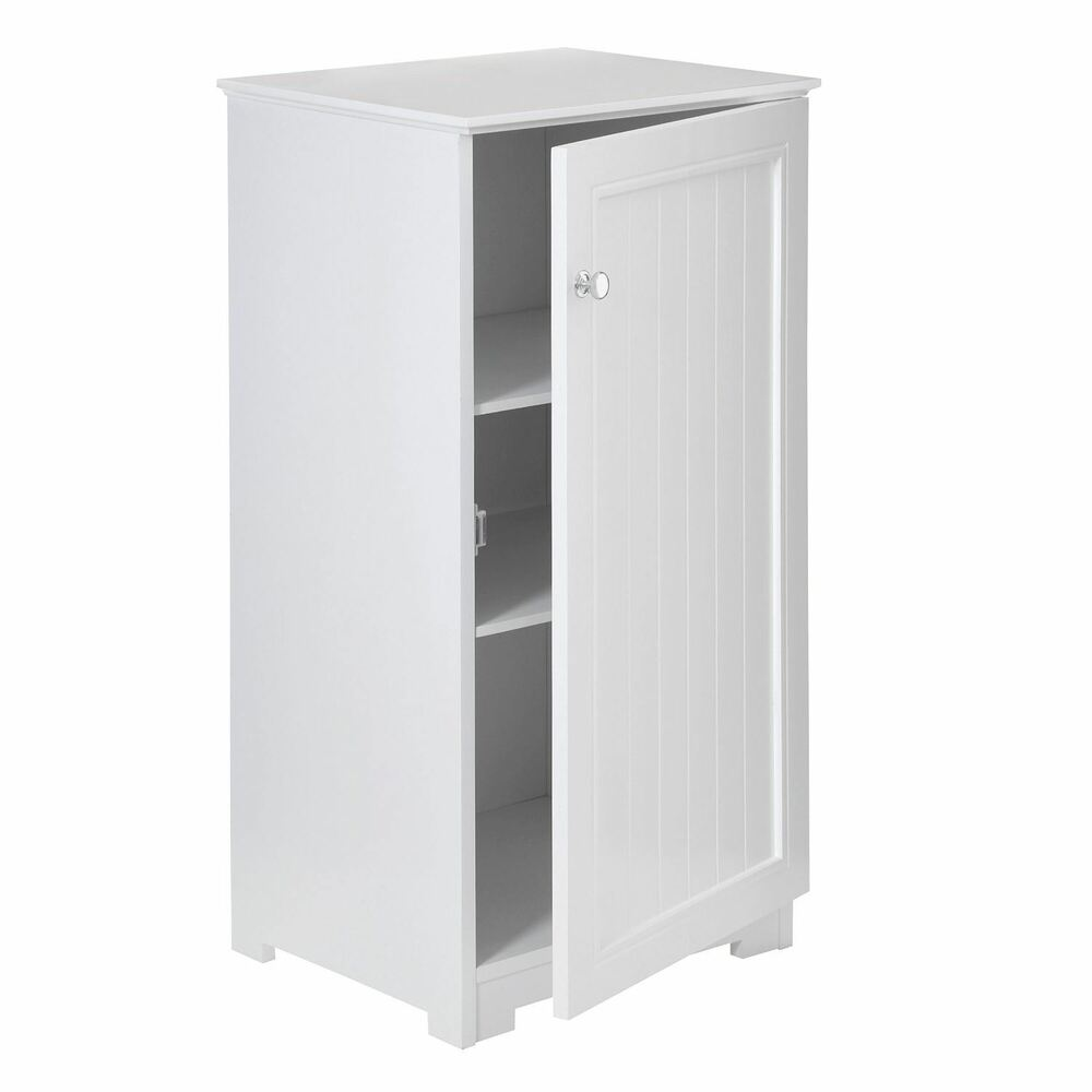 White wood floorstanding cabinet inner shelves bathroom
