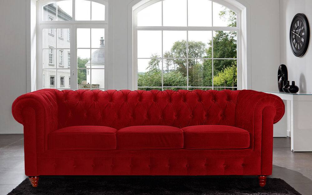 Modern Velvet Red Sofa Chesterfield Style Tufted Buttons