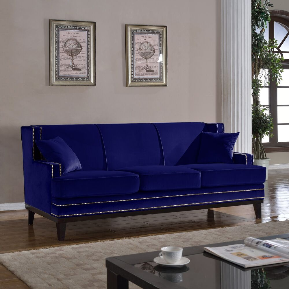 Classic traditional blue soft velvet sofa with nailhead for Classic traditional furniture