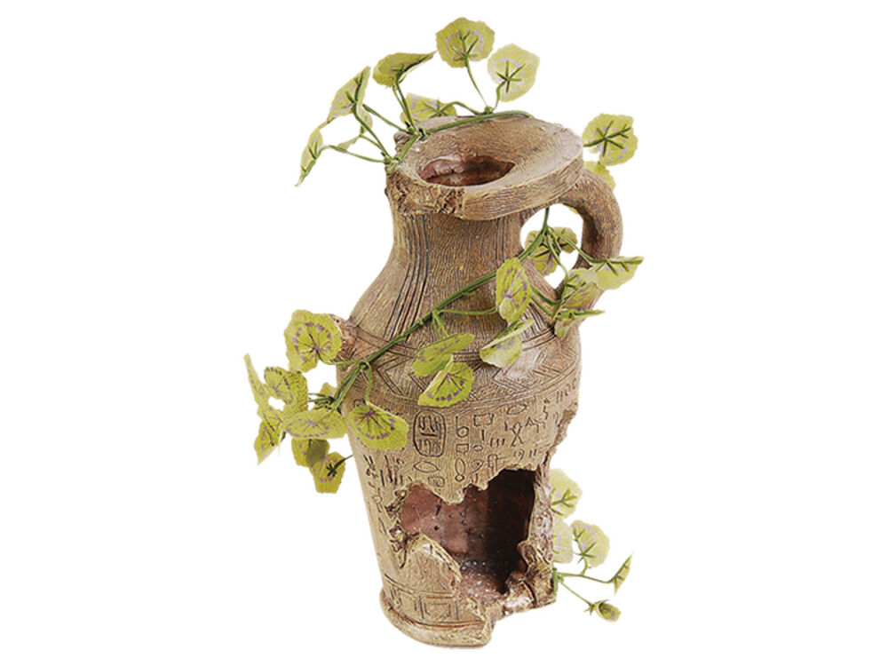 Pot vase with silk plant fish tank cave vivarium for Plant with fish in vase