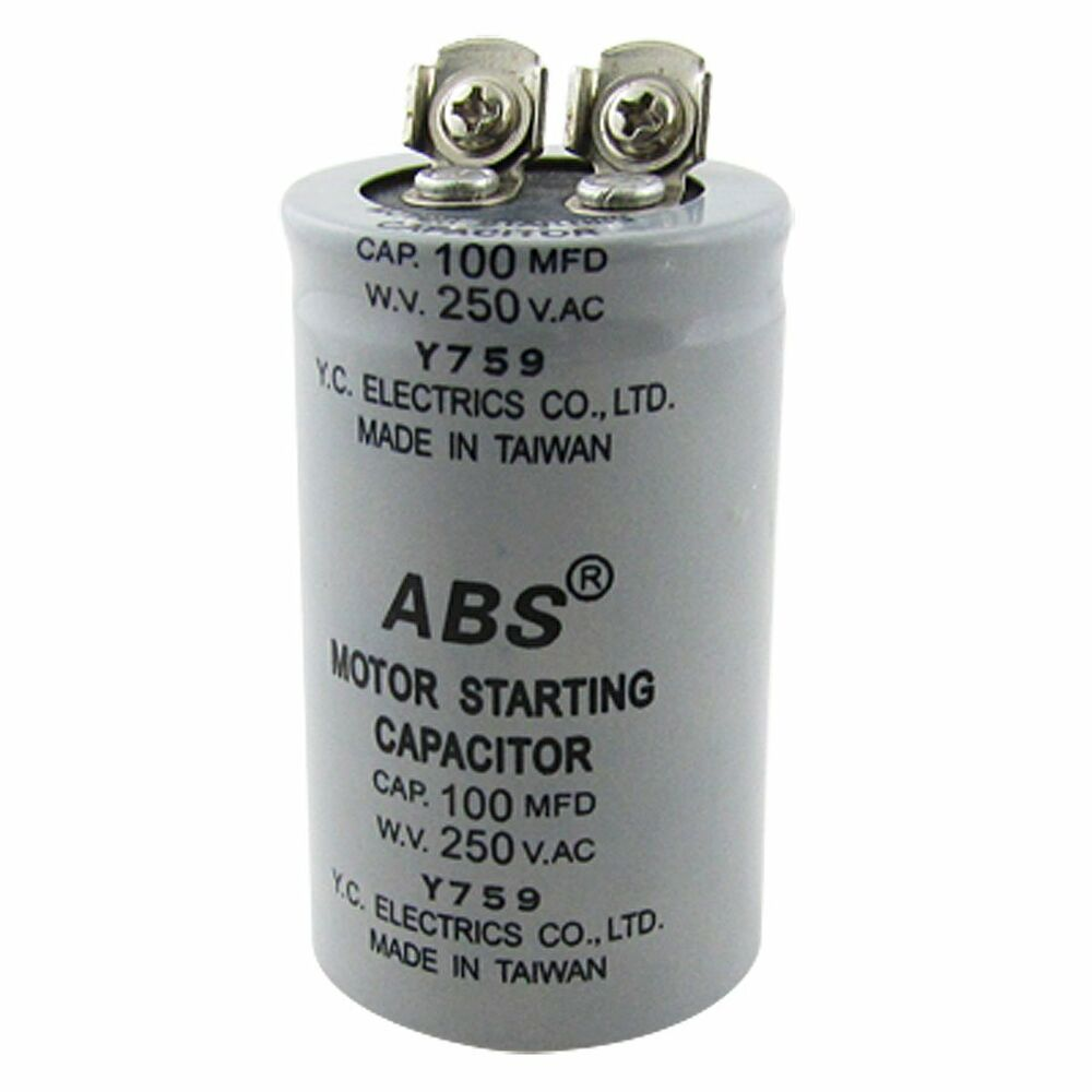 Abs 100mfd 100uf 250v ac motor starting capacitor ts ebay for How to test a motor start capacitor