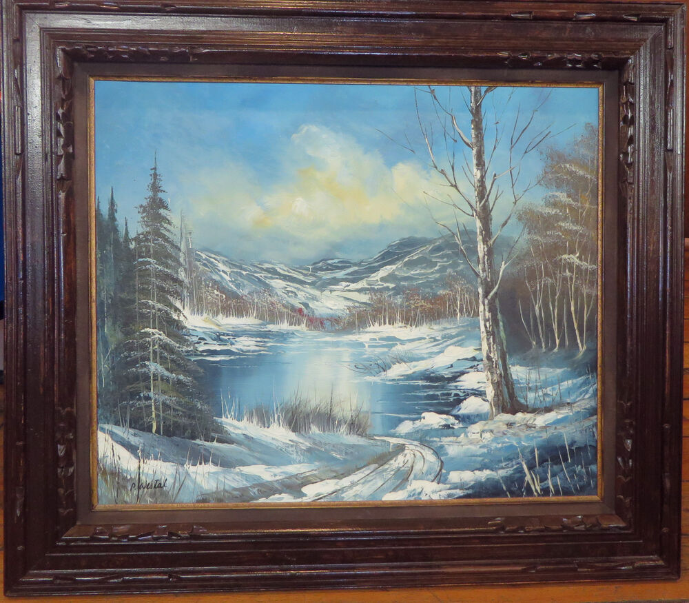 Large 32 X 28 Carved Wood Framed Winter Mountain Lake Oil