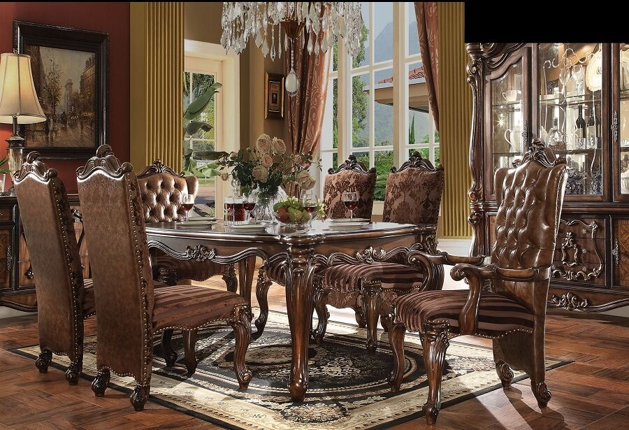Traditional Royal Luxury Design Antique Cherry Oak Dining Room 7pc Dining Set