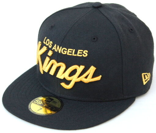 fed78f058c9 Details about NHL Los Angeles Kings Script New Era 59Fifty Fitted Cap Hat -  Black Gold