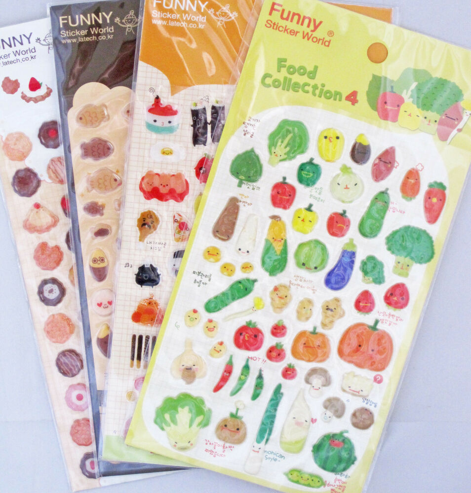 funny sticker world food collection puffy sticker sheet your choice of design ebay. Black Bedroom Furniture Sets. Home Design Ideas