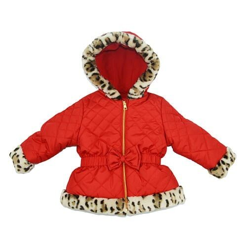 8628ff3bebe54 Details about Pistachio Red Jacket Winter Coat with Leopard Faux Fur Trim Toddler  Girl 2T NEW