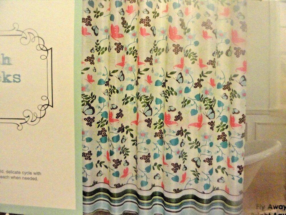 13 Pc Butterfly Flowers Pink Aqua Nature Fabric Shower