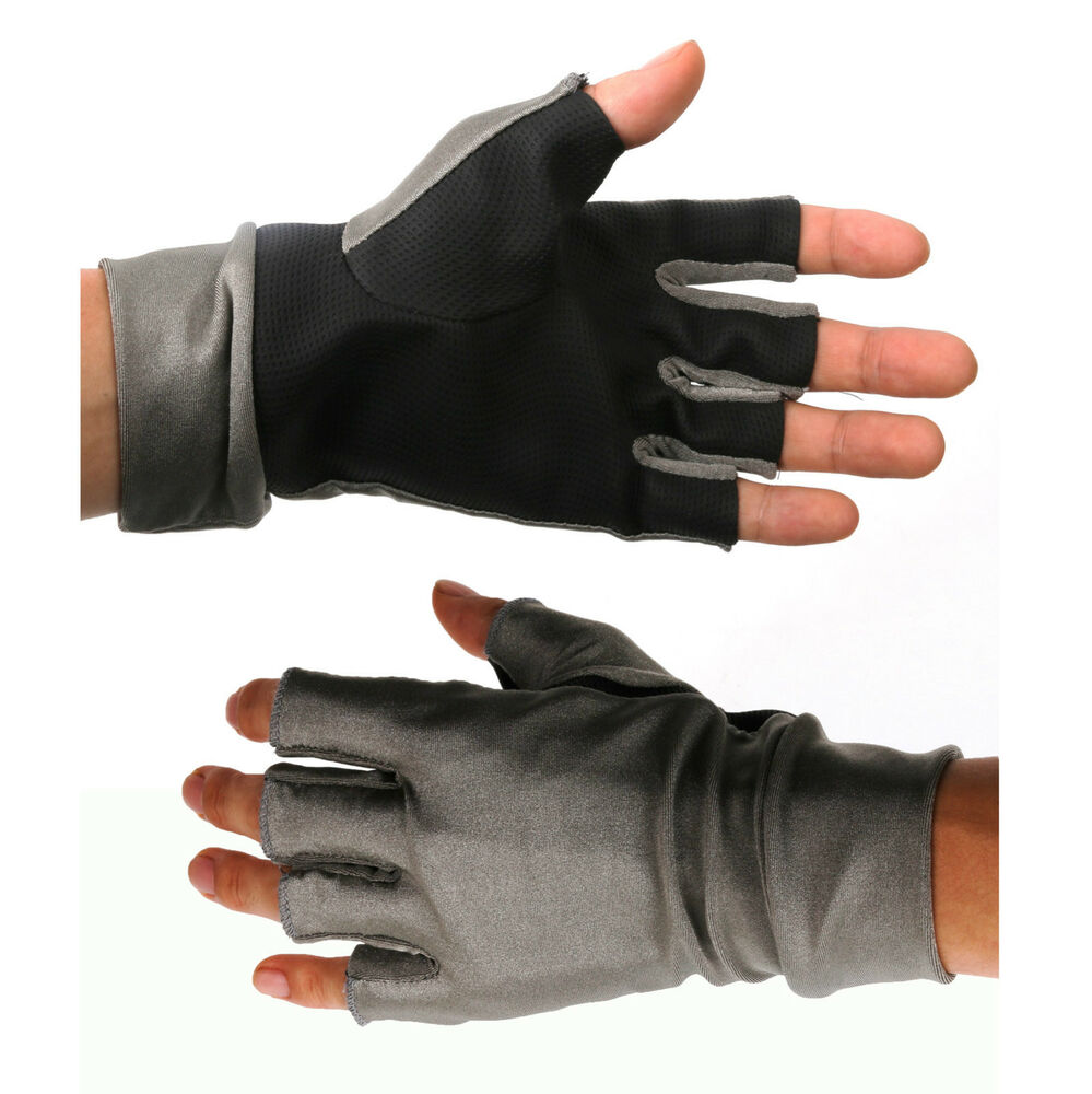 Maxcatch uv protection gloves fly fishing half finger for Fishing sun gloves