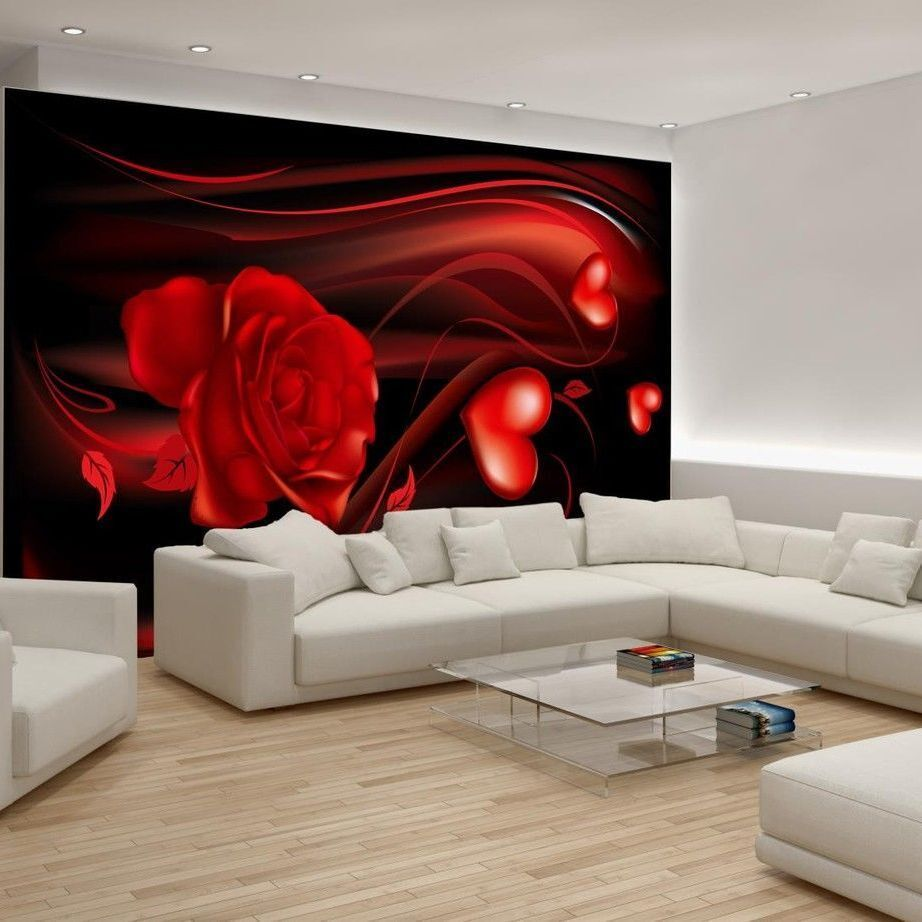 poster fototapeten fototapete wandbild tapeten rosen herz schwarz rot 300 p4 ebay. Black Bedroom Furniture Sets. Home Design Ideas